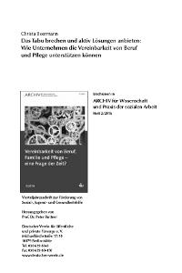 """DV: ARCHIV für Wissenschaft und Praxis der sozialen Arbeit 2/2016 """"""""Tabu brechen"""" """""""
