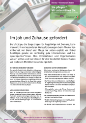 "Merkblatt ""Demenz – Vereinbarkeit fördern"""